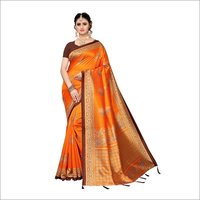 New designer silk saree with checks design and jhalar