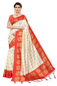 Ladies wear Mysore Silk saree with jhalar