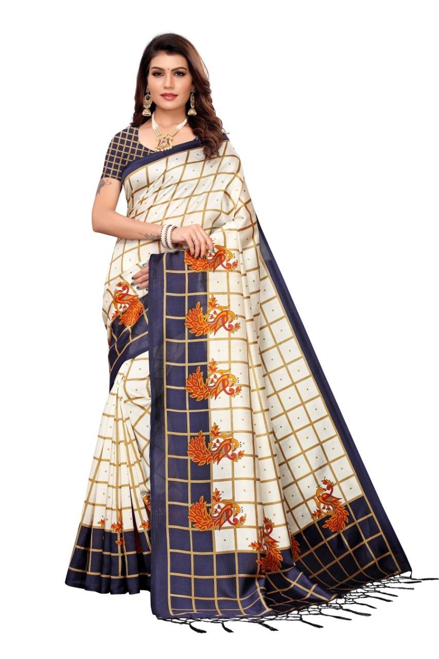 New Designer Mysore  art Silk saree with jhalar