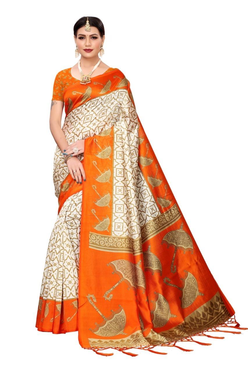 Mysore Silk saree with umbrella print and jhalar