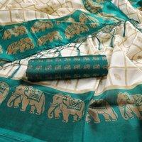 New elephant print mysore silk saree with jhalar