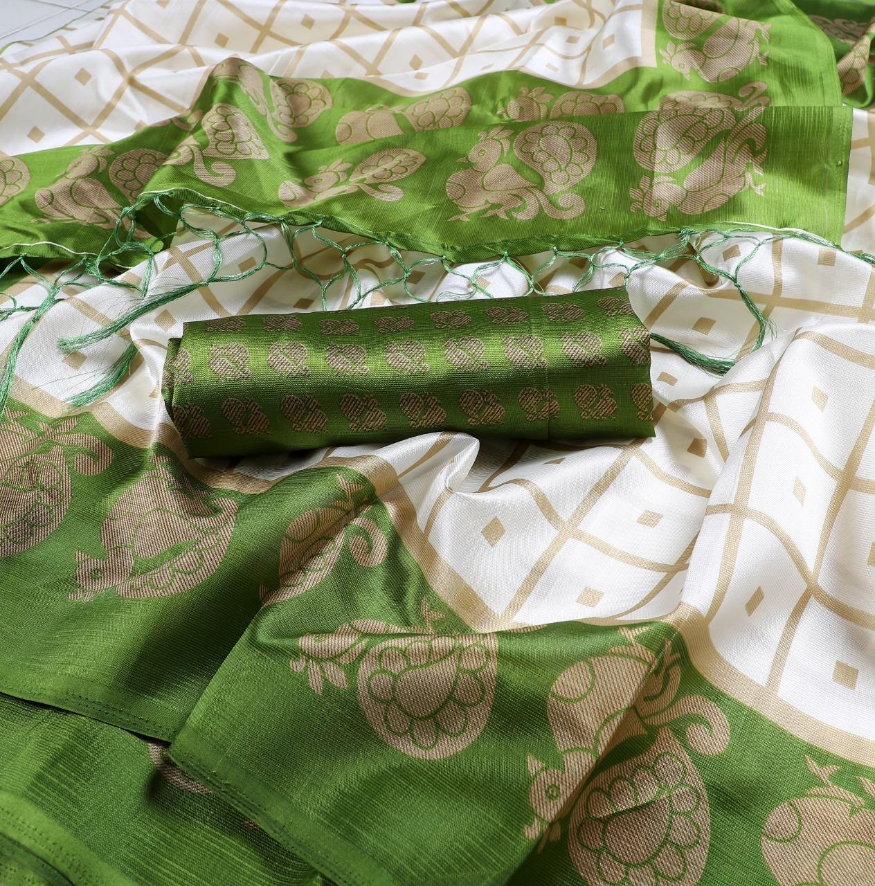 New Peacock print mysore silk saree with jhalar