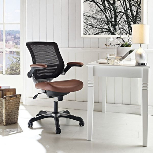 Brown Leather And Mesh Office Chairs