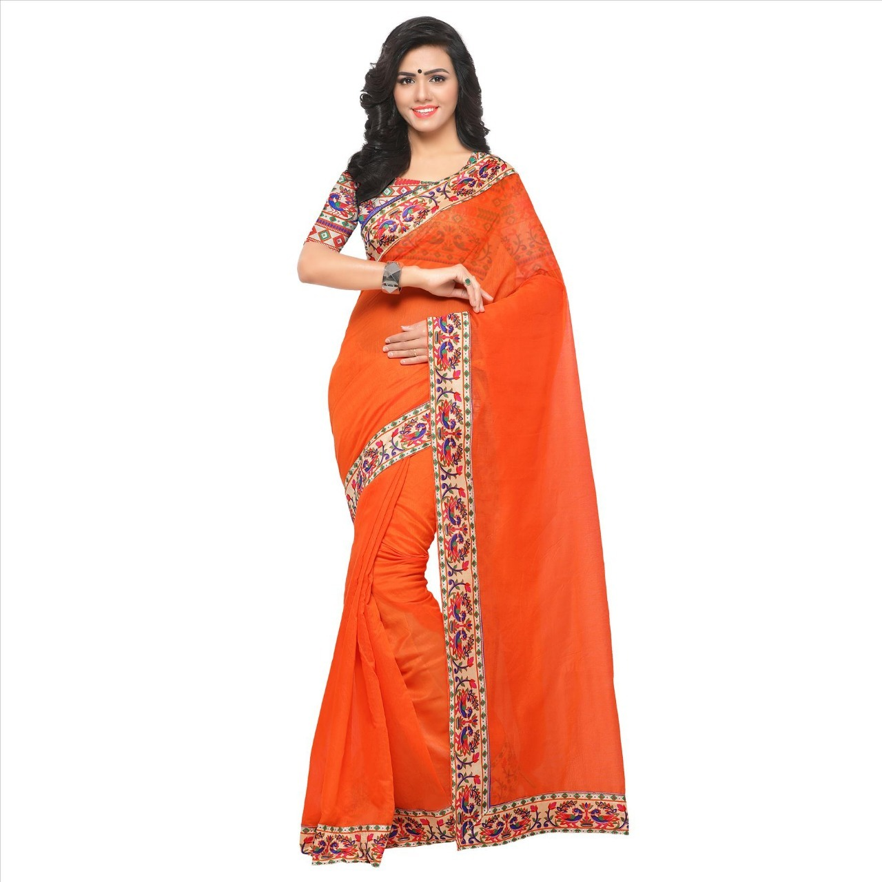 New designer chanderi saree with lace