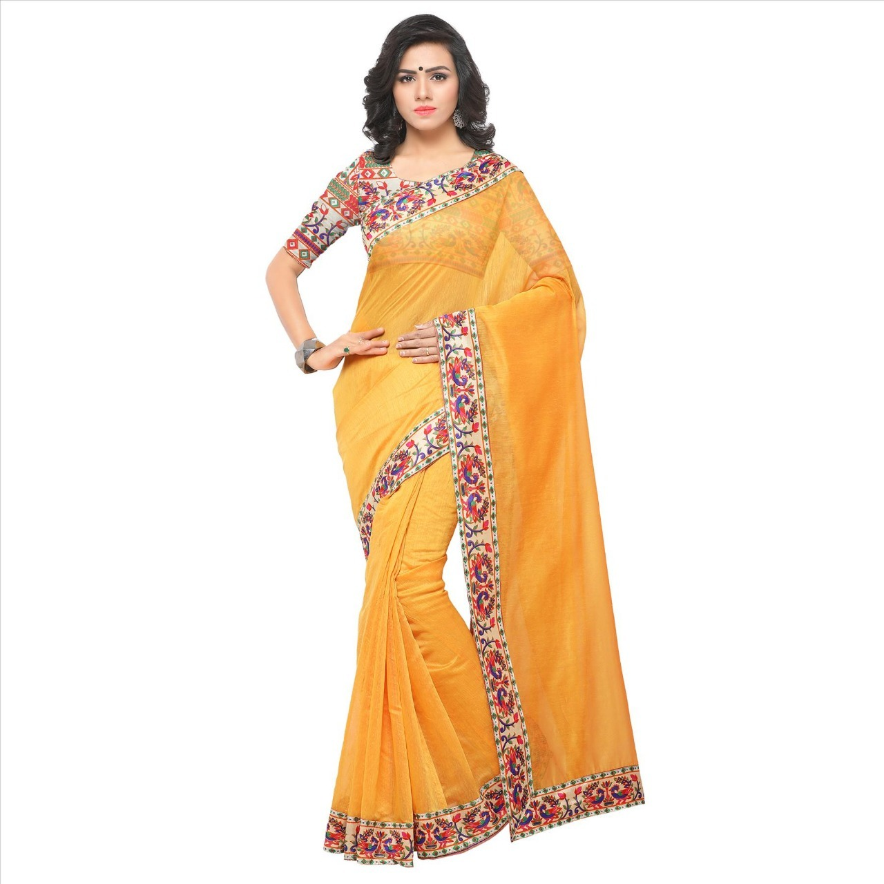 New designer chanderi saree with lace