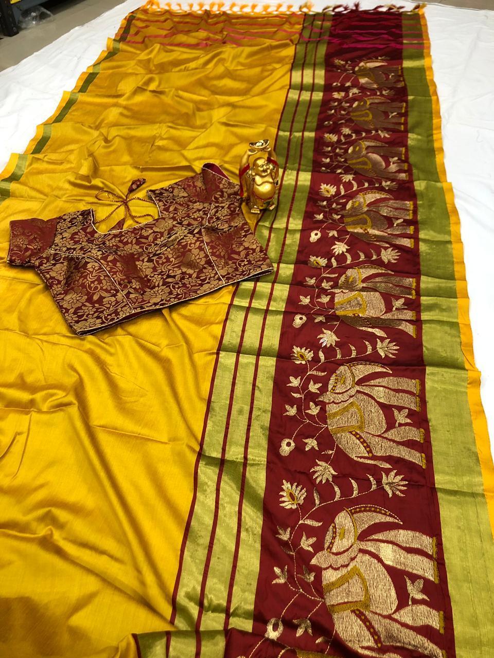 aura cotton silk saree