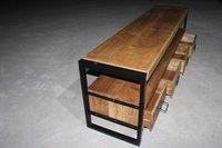 TV Unit 4 Door Shelf Entertainment unit Natural Solid Wood Industrial Furniture Industrial Cabinets
