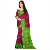 New Ladies wear pure cotton bandhani saree with zari work