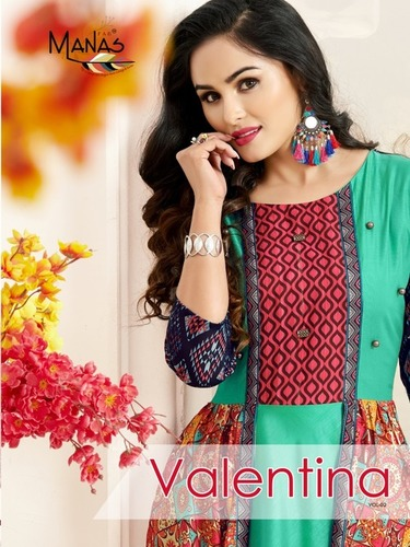 Masalin digital Print with fancy Kurti