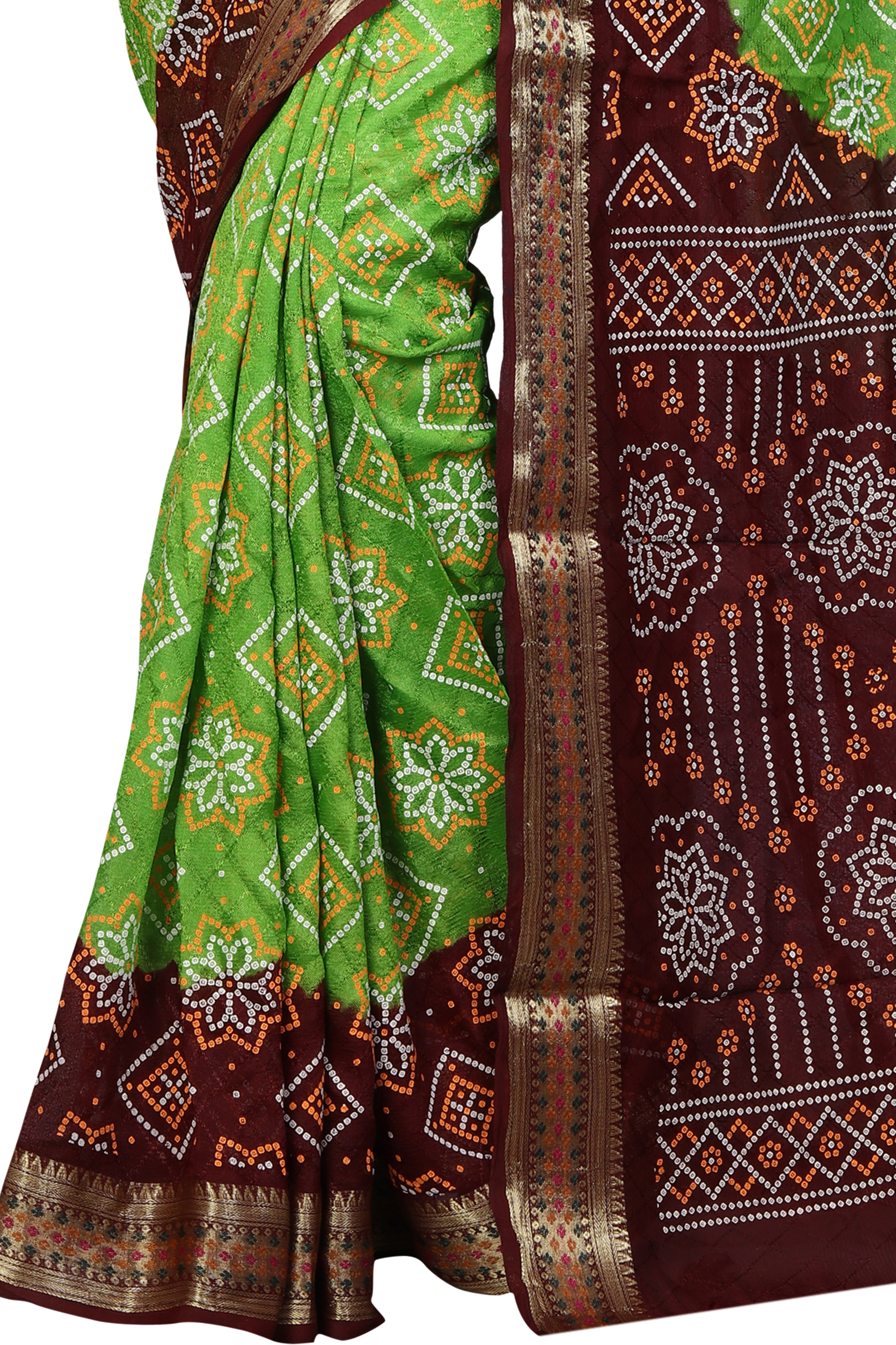 New Beautiful Design Pure Cotton Bandhani Saree with Zari work