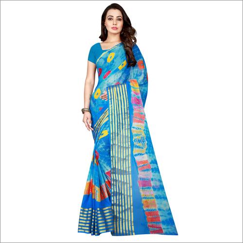 Fancy Line Design print Bandhani chiffon saree
