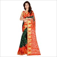 Festive Wear Cotton Saree with Rich Zari work Border and Flower Design