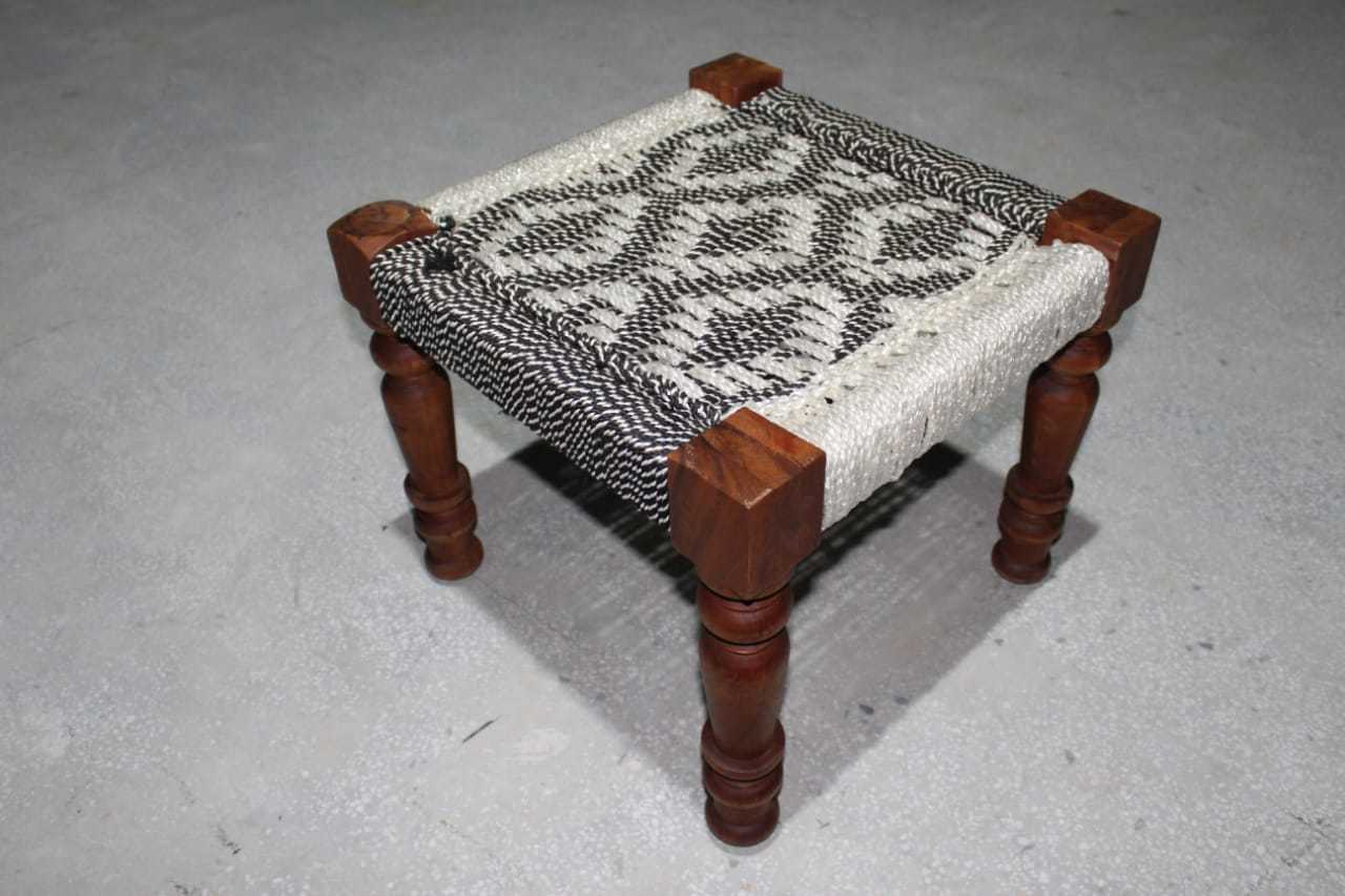 Traditional Wooden Weaving Stool Bench Chair Charpai