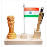 Decorative Wooden Ashoka Pillar Pen Stand