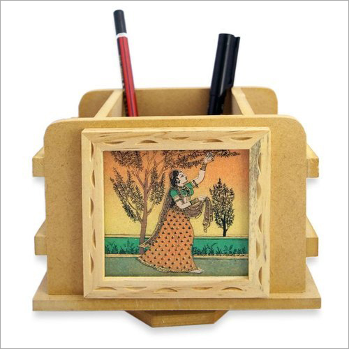 Painted Wooden Pen Stand