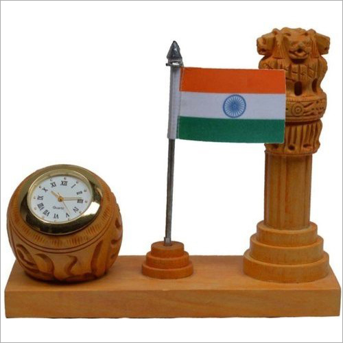 Wooden Desktop Ashoka Pillar Pen Stand