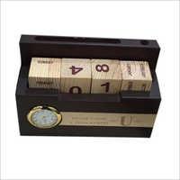 Desktop Wooden Calendar With Clock