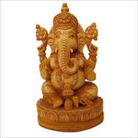 Hand Carved Wooden Ganesh Statue