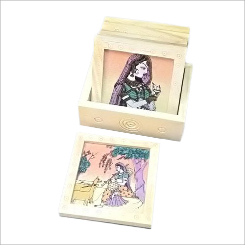 Painted Wooden Tea Coaster Set