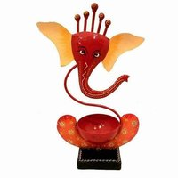 METAL TLIGHT HOLDER GANESHA