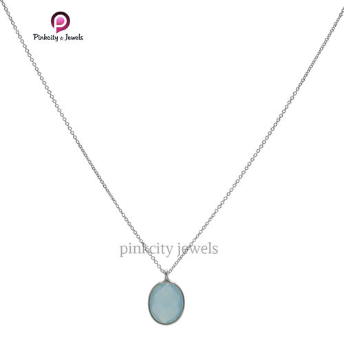 Blue Chalcedony 925 Silver Necklace