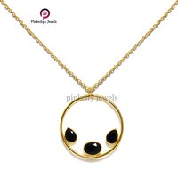 Gold Plated Black Onyx Faceted Pear and Oval Gemstone 925 Sterling Silver Jewelry Necklace