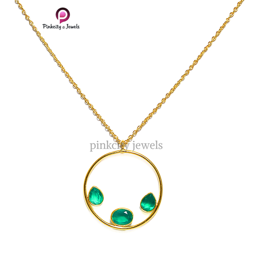 Green Onyx 925 Silver Necklace