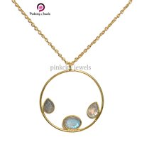 Gold Plated Natural Labradorite Faceted Pear and Oval Gemstone  925 Sterling Silver Jewelry Necklace