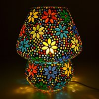 Decent Glass Mosaic lamp Exclusive Make in India Mushroom Shaped Glass Leafs Design Table lamp with Multicolour Mosaic Handwork Table lamp 9
