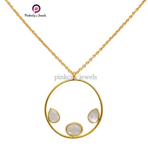 Rainbow Moonstone 925 Silver Necklace