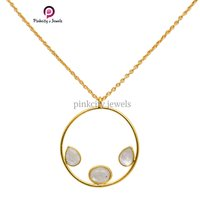 Gold Plated Natural Rainbow Moonstone Faceted Pear and Oval Gemstone 925 Sterling Silver Jewelry Necklace