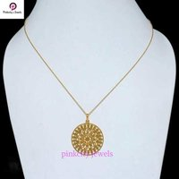 Handmade Stylish 925 Sterling Silver Gold Plated Chain Necklace Jewelry