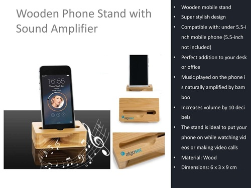 Wooden Phone Holder With Natural Sound Amplifier