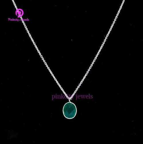Natural Green Onyx 925 Silver Necklace