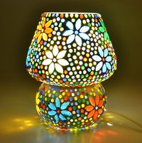 Decent Glass Mushroom Shaped Glass Flower Design Handicraft Table lamp with Multicolour Mosaic Handwork Table lamp