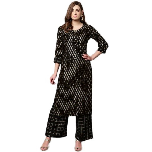Black Ladies Kurta With Palazzo