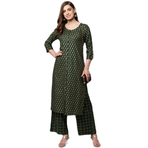 Green Ladies Kurta With Palazzo