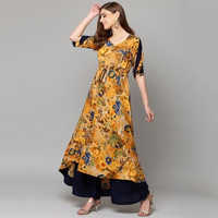 Yellow Printed Ladies Kurta With Palazzo
