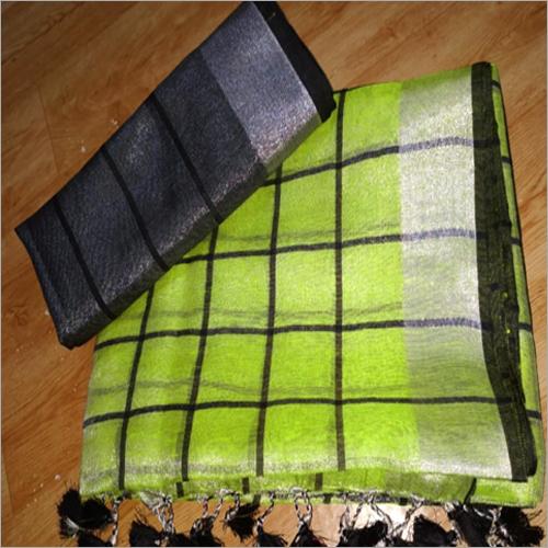 Tissue Linen Black Checks Saree