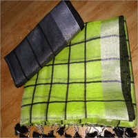 Tissue Linen Black Checks Saree