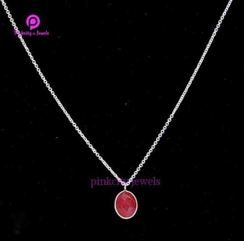 Beautiful Ruby Faceted 9x11 Oval Gemstone Handmade 925 Sterling Silver Chain Necklace Jewelry