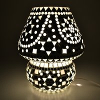 Decent Glass White and Black Combination of Beads Mosaic Work Handicraft Mosaic Table Lamp