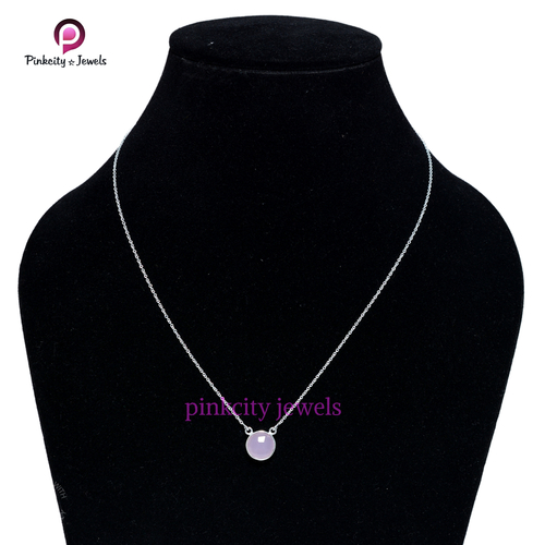 Pink Chalcedony 925 Silver Chain Necklace