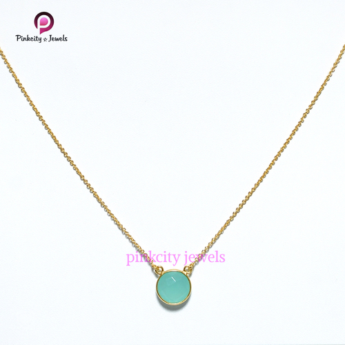Aqua Chalcedony 925 Silver Chain Necklace