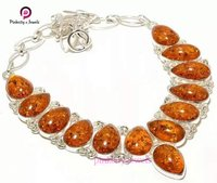 Beautiful Amber Pear Shape Gemstone 925 Sterling Silver Necklace