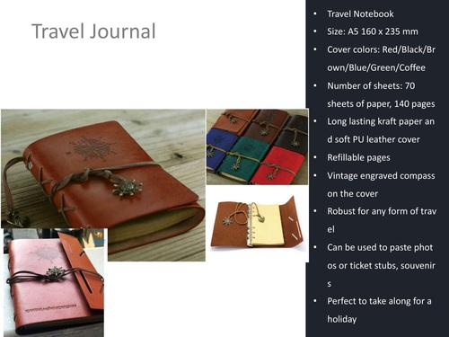 Vintage Engraved Travel Journal Notebook