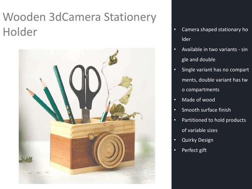 Wooden 3D Camera Stationery Holder