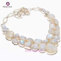 Natural Mix Shape Rainbow Moonstone Cabs Gemstone 925 Sterling Silver Jungle Necklace Jewelry