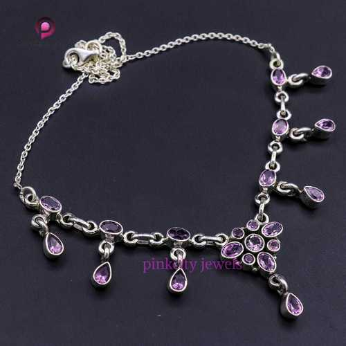 Natural Amethyst 925 Silver Necklace