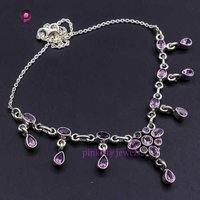 Amethyst Faceted Gemstone 925 Silver Necklace Jewelry